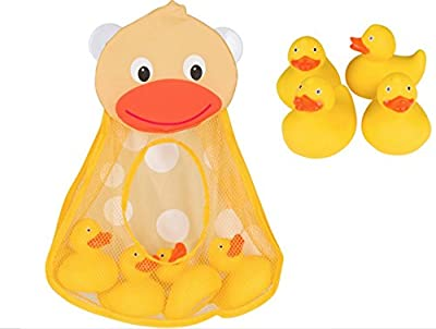 Perfect Gift Momma Duck Gift Set Includes 4 Adorable Safe Rubber Duck Set PLUS Bath Toy Organizer Top Baby Gift for Baby Boys & Girls to keep Bath Toys Dry & Mold Free by Sanmarco that we recomend individually.