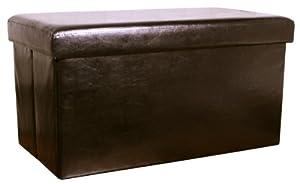 Faux Leather Folding Storage Box Stool / Ottoman / Pouffe 70x38x38