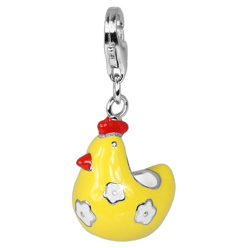 SilberDream Charm funny chicken enamel, 925 Sterling Silver Charms Pendant with Lobster Clasp for Charms Bracelet, Necklace or Earring FC613