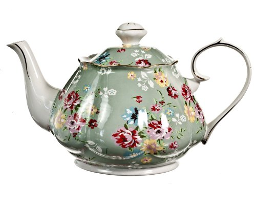 Gracie China Shabby Rose Porcelain 4-1/2-Cup Teapot, Shabby Rose Green