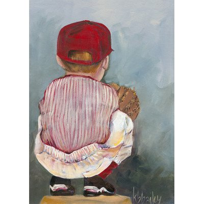 "Oopsy Daisy NB21027 Lil' Catcher Boy by Kristina Bass Bailey Canvas Wall Art, 18"" by 24"""