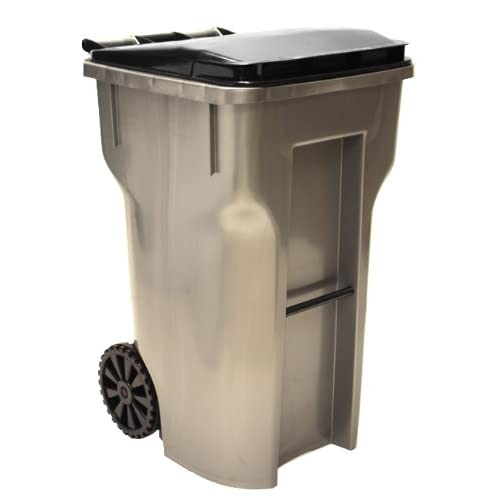 64 gallon metallic color heavy duty outdoor trash can with wheels and