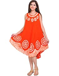 Exotic India Fiesta-Orange Dress With Batik Printed Flowers And Threadw - Orange