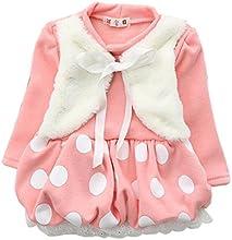 CM-CG Little Girls39 Dots Lace Hem Velvet Chest Ruffled Dress Outerwear 6M-4Y