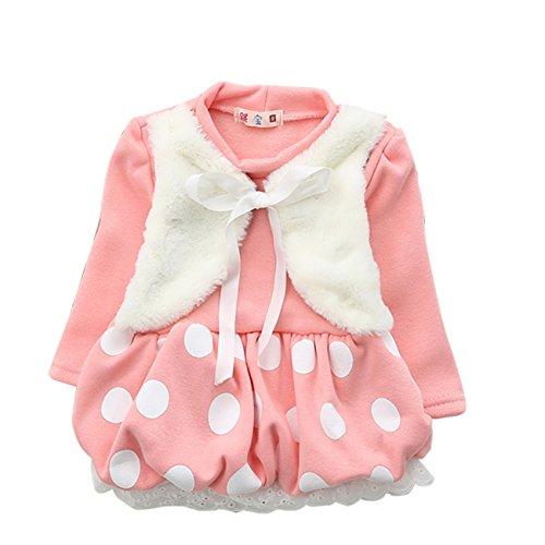 Cm-Cg Baby Girls' Dots Lace Hem Velvet Chest Ruffled Dress Outerwear 6-18M front-26996