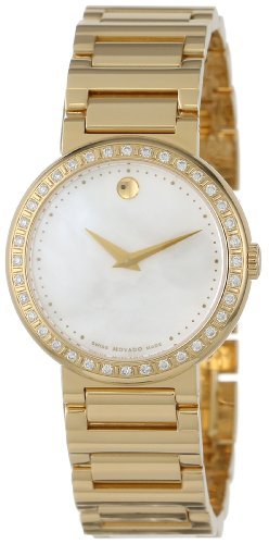 Movado Women's 0606422 Concerto Gold-Plated Stainless-Steel White Mother-Of-Pearl Round Dial Watch