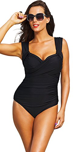20e7422a2a206 Tropiculture Women s Crossover Swimsuit 14 Black