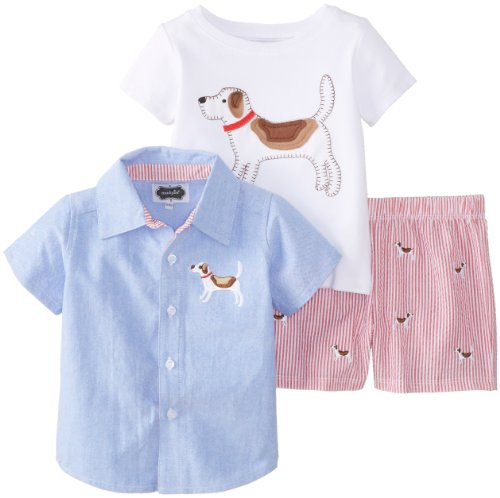 Mud Pie Baby-Boys Infant 3 Piece Set Puppy Tee Button Down And Short, Blue, 12-18 Months front-1039083