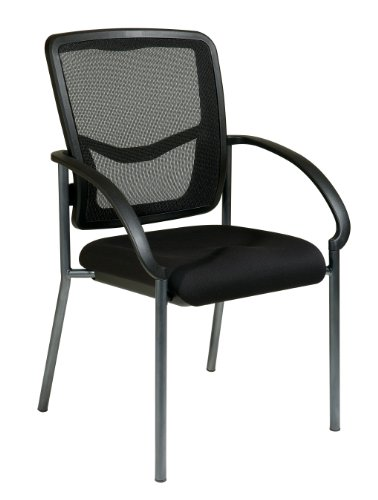 Office Star Proline II Titanium Finish Visitors Chair, with Arms and ProGrid Back