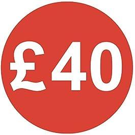 Audioprint Lot. 50000Lot de Prix £40autocollants 30mm rouge