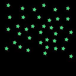 Hatop 100PC Kids Bedroom Fluorescent Glow In The Dark Stars Wall Stickers (Blue)