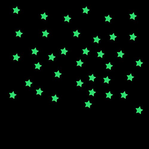 Hatop 100PC Kids Bedroom Fluorescent Glow In The Dark Stars Wall Stickers (Blue)