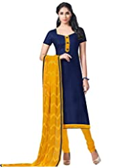 Saree Dotcom Women's Bhagalpuri-Silk Suit (Navy Blue)