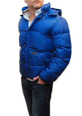 Buy Polo Ralph Lauren Mens Puffer Quilted Down Hooded Jacket Hoodie Puffy Coat Blue by RALPH LAUREN