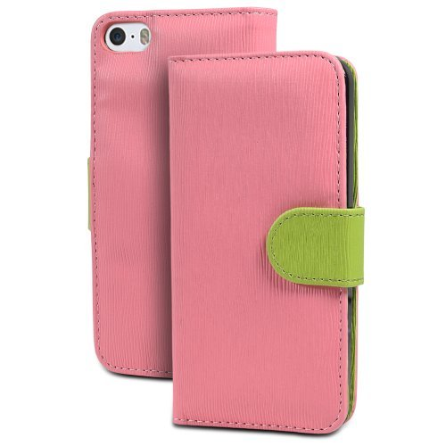 iPhone SE Case, GreatShield LOLLY Series Leather Wallet Case with Stand for Apple iPhone SE (Pink & Green)