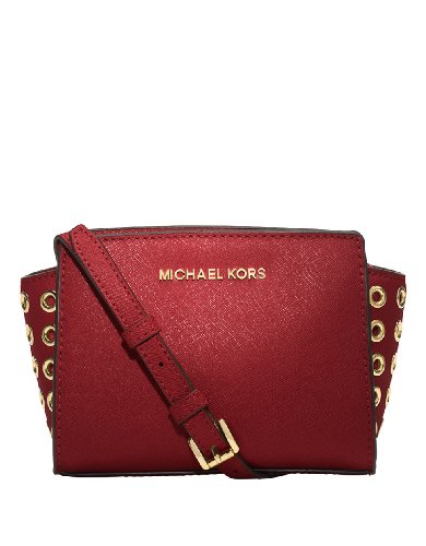 MICHAEL Michael Kors Michael Kors Women's Selma Grommet Red Mini Messenger Crossbody Handbag
