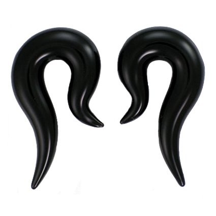 Black Color Hook Shaped Glass Handmade Tapers - Each One Unique 00G (10mm) - Sold as a Pair