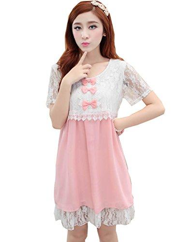 Maternity Lace Chiffon Dress Pregnancy Women Clothes Pregnant Women Dress (Xl=Us12, Pink)