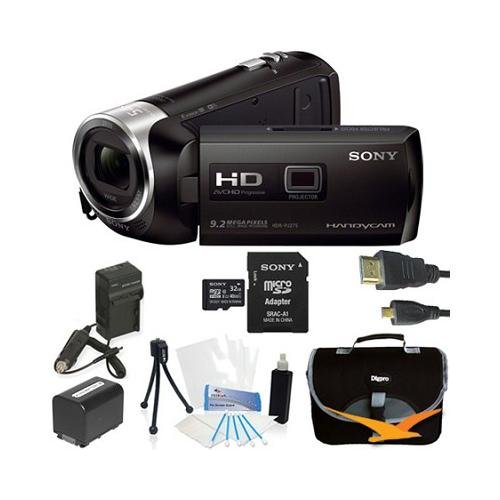Sony Hdrpj275/B Hdr-Pj275 Pj275 Hdrpj275B Video Camera With 2.7-Inch Lcd (Black) - Bundle With 32Gb High Speed Micro Sd Card, Spare High Capacity Battery, Ac/Dc Charger, Table Top Tripod, Padded Case, Micro Hdmi Cable, Lcd Screen Protectors, And Lens Clea
