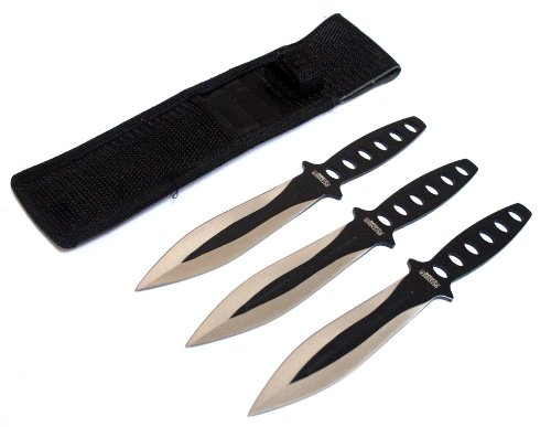 """8"""" Black & Sliver Blade 3 Pc Throwing Knives With Sheath"""