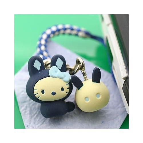 Sanrio Hello Kitty Japanese Rabbit Netsuke Cell Phone Strap, Indigo