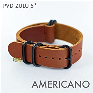 ZULU LEATHER WATCH STRAP PVD HARDWARE (20,22 & 24mm) (24mm)