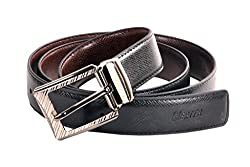 Nerita Leather Reversible Belt Buckle for Men and Boys(Leather_Black&Brown_517_FREESIZE)