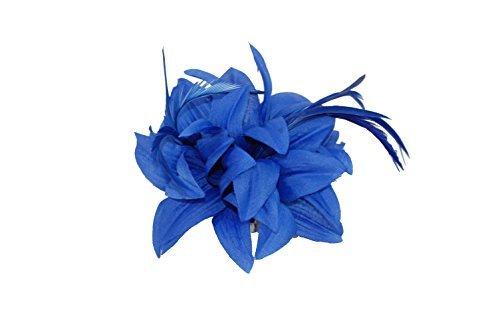 Attirant bleu roi bijou de cheveux fleur / corsage avec pointus pétales et vrilles de plume lot sur un pince cheveux et broche code pin. Idéal pour a mariage, baptême et autres occasions spéciales