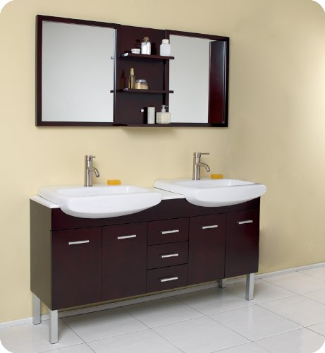 Espresso Modern Double Sink Bathroom Vanity with Mirror FVN6193ES: 59