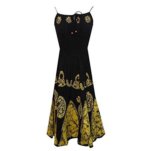 Batik Print Rayon Black Smocked Dress Knee Length Women Summer Dress Size M