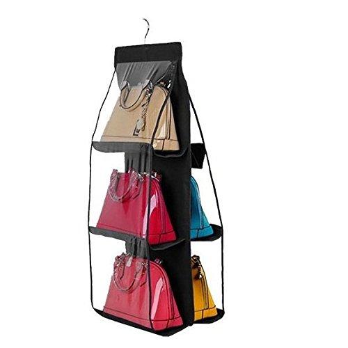 dreamtop Transparent sac à main organiseur à suspendre dressing Noir 6Poches Sac à main Sac de rangement Pochettes Homcom