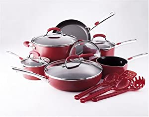 Amazon.com: Farberware Accents 15-Piece Cookware Set, Red ...