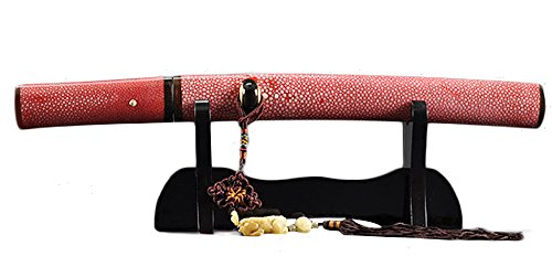 Handmade Sword - Japanese Tanto Sword, Functional, Hand Forged, 1095 Carbon Steel, Clay Tempered, Full Tang, Sharp, Orange Red Ray Skin Handle, Wrapped Scabbard, Box with Tanto Stand, Certificate (Ninja Tanto Battle Package compare prices)