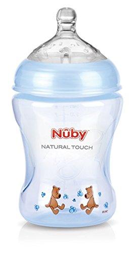 Nuby-NT68007-Natural-Touch-Weithalsflasche-aus-PP-240-ml-Blue-Design-mit-Soft-Flex-Flaschensauger-aus-Silikon-ab-0-Monaten-Gr-S-fr-langsamen-Trinkfluss-Muttermilch-Milch-Tee-Sfte