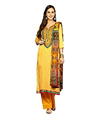 Yepme Rosabelle Unstitched Suit - Yellow -- YPMRTS0047_Free Size