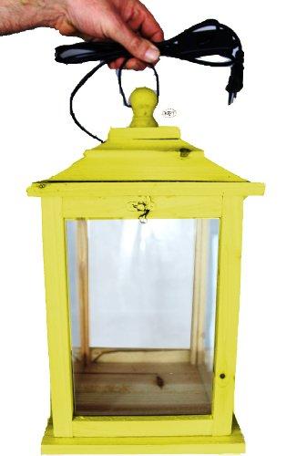 Holzlaterne, als Glasvitrine mit Beleuchtung, mit Glas und Holz - Rahmen, mit Holz - Deko KL-OFOS-GELB aus Holz hell amazon gelb Insekten zitronengelb neon neongelb mit Holzdach