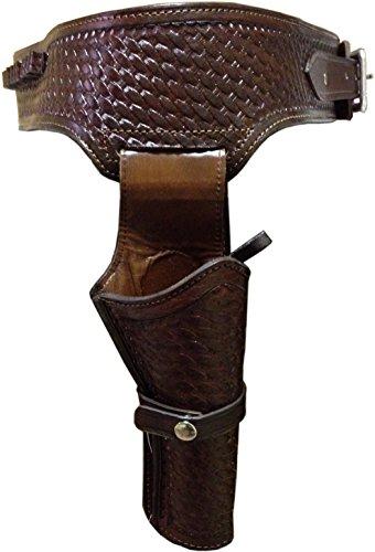 44/45 Caliber Weave Pattern Western Leather Gun Holster