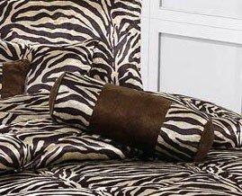 Animal Print Collections 7 Pieces, Dovedote Zebra Print Comforter Set, Queen, Brown