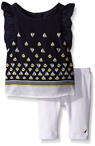 Nautica Baby Light Weight Woven Printed Top with Knit Legging Set, Navy, 18 Months