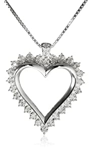 "Sterling Silver 1/4cttw Diamond Heart Pendant Necklace, 18"" from The Aaron Group - HK DI"