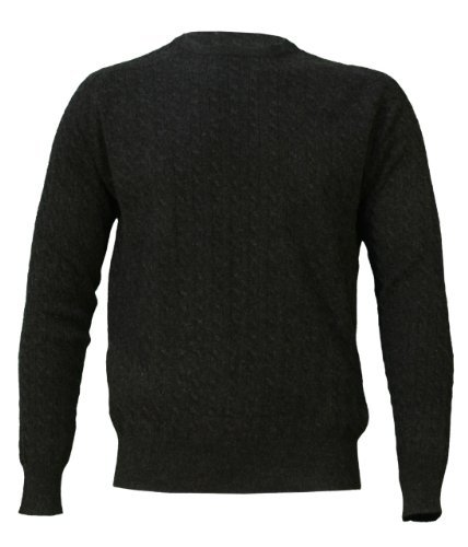 Noluur Mens Cashmere Crew Neck Jumper with Cable Stitch in Atrous Grey Size XXL