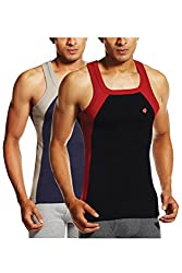 ONN NS523 Mens Assorted Cotton Sports Vest Pack of 2 (Small)