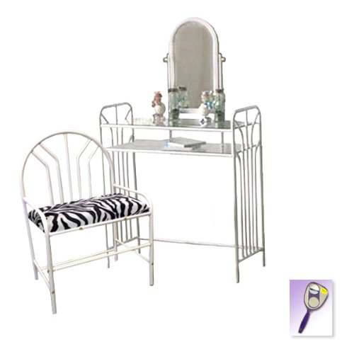 New White Metal Finish Make Up Vanity Table With Mirror & Black & White Zebra Faux Fur Themed Bench front-988672