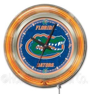 NCAA Florida Gators Double Neon Ring 15-Inch Diameter Logo Clock by Holland Bar Stool Company