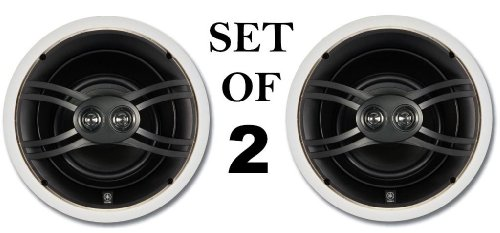 "Yamaha Natural Sound Custom Easy-To-Install In-Ceiling 3-Way 100 Watts Speaker Set (1 Pair Of 2 Speakers) With Dual Tweeters & 6-1/2"" Woofer For Large Room Or 2 Smaller Rooms"