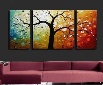 Santin Art - 3 Piece Canvas Art Modern Art 100% Hand Painted Oil Painting on Canvas Wall Art Deco Home Decoration (Stretched and Framed Art)