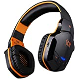 [2015 New Version]versiontech Bluetooth 4.0 Wireless Stereo NFC Noice Isolating Gaming Headphones Headsets - Over Ear Cordless Headphones with 3.5mm Wired Audio In, NFC Tap to Connect and Built-in Microphone Which Is Compatible with Smartphones, Laptops, Tablets, Not Compatible with Ps4/ps3 and Xbox 360(mic Is Not Available for Ps4/ps3 and Xbox 360) - Black & Orange