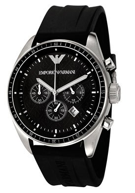 Emporio Armani Watch Men's Chronograph Black Rubber Strap AR0527