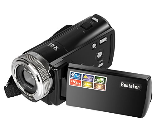 Camera Camcorders, Besteker Portable Digital Video Camcorder HD Max 16 Mega Pixels 1280*720P DV 2.7 Inches TFT LCD Screen 16X Zoom Camera Recorder (108-Black) (Top Rated Camcorders compare prices)