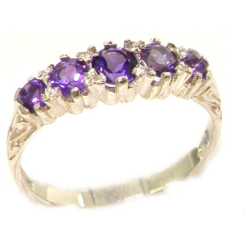 Antique Style Solid Sterling Silver Natural Amethyst Ring with English Hallmarks - Size 12 - Finger Sizes 5 to 12 Available - Suitable as an Anniversary ring, Engagement ring, Eternity ring, or Promise ring